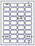 "US3712-1 3/4''x1''-36 up on a 8 1/2"" x 11"" label sheet."