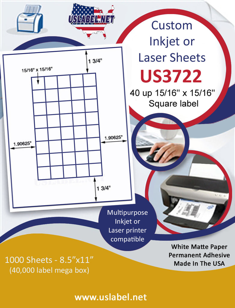 "US3722 - 40 up 15/16'' x 15/16'' Square label on a 8 1/2"" x 11"" inkjet or label sheet."