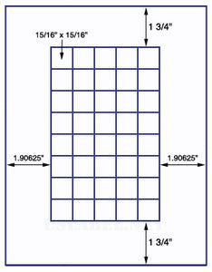 "US3722-15/16''x15/16""-40 up Sq.on a 8 1/2""x11"" label sheet."