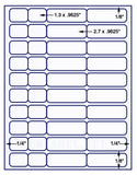 "US3744-1.3''&2.7''x.9625''-40 up 8 1/2"" x 11"" label sheet."
