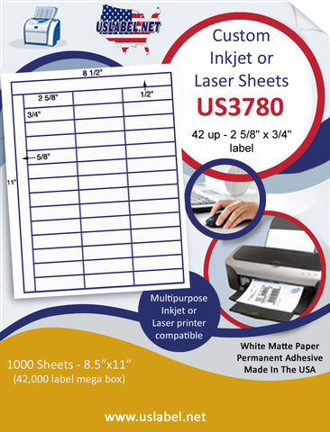 "US3780 - 42 up - 2 5/8'' x 3/4''label with Square Corners on a 8 1/2"" x 11"" inkjet or laser label sheet."