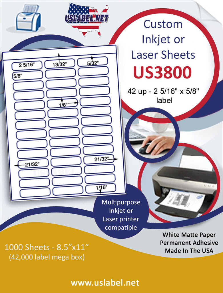"US3800 - 42 up 2 5/16'' x 5/8'' label on a 8 1/2"" x 11"" inkjet or laser sheet."
