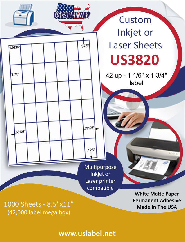 "US3820 - 42 up - 1 1/6'' x 1 3/4'' label on a 8 1/2"" x 11"" inkjet or laser label sheet."