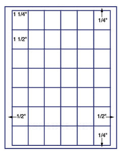 "US3821-1 1/4''x1 1/2''-42 up on a 8 1/2"" x 11"" label sheet."
