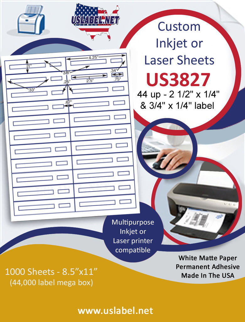 "US3827 - 2 1/2'' x 1/4'' & 3/4'' x 1/4'' label on a 8 1/2"" x 11"" inkjet or laser label sheet."