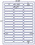 "US3833-2.5''x.5625''-45 up on a 8 1/2""x11"" label sheet."