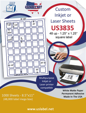 "US3835 - 48 up - 1.25'' x 1.25''  square label with perfs on a 8 1/2"" x 11"" inkjet or laser label sheet."