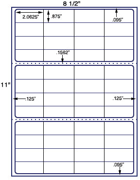 "US3838 - 48 up - 2.0625'' x .875'' label on a 8 1/2"" x 11""  label sheet."