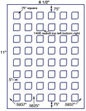 "US3842 -.75""-48 up Square on a 8 1/2"" x 11"" label sheet."