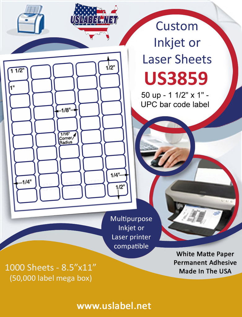 "US3859 - 50 up - 1 1/2'' x 1'' UPC bar code label with rounded corners on a 8 1/2"" x 11"" inkjet or laser label sheet."