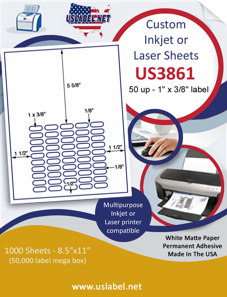 "US3861 - 50 up - 1'' x 3/8'' label on a 8 1/2"" x 11"" inkjet or laser label sheet."