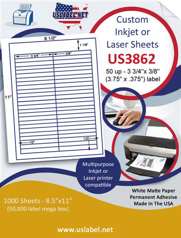 "US3862 - 50 up - 3 3/4''x 3/8'' label on a 8 1/2"" x 11"" inkjet or laser label sheet."
