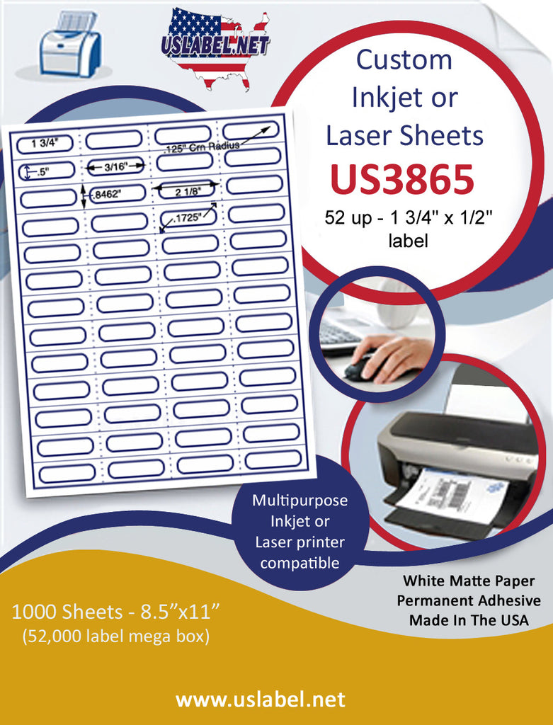 "US3865 - 52 up 1 3/4'' x 1/2''-with Perfs label on a 8 1/2"" x 11"" inkjet or laser label sheet. - uslabel.net - The Label Resource Center"