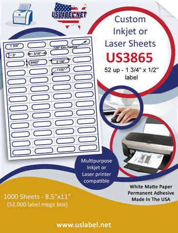 "US3865 - 52 up 1 3/4'' x 1/2''-with Perfs label on a 8 1/2"" x 11"" inkjet or laser label sheet."