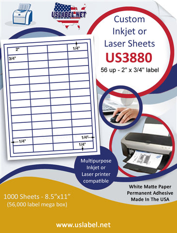"US3880 - 56 up - 2'' x 3/4'' label on a 8 1/2"" x 11"" inkjet or laser label sheet."
