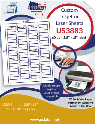 "US3883 - 60 up - 2.5'' x .5'' label on a 8 1/2"" x 11"" inkjet or laser sheet."