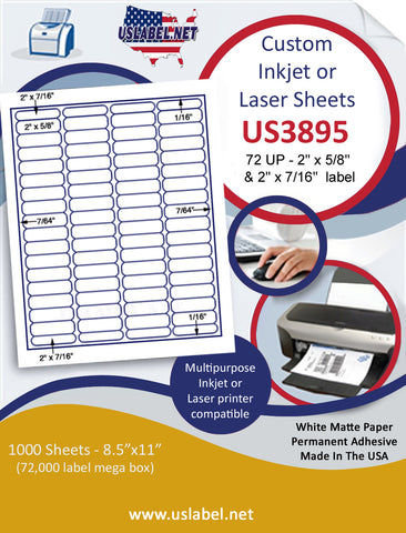 "US3895 - 2'' x 5/8'' & 2'' x 7/16'' - 72 Up label on a 8 1/2"" x 11"" inkjet or laser label sheet."