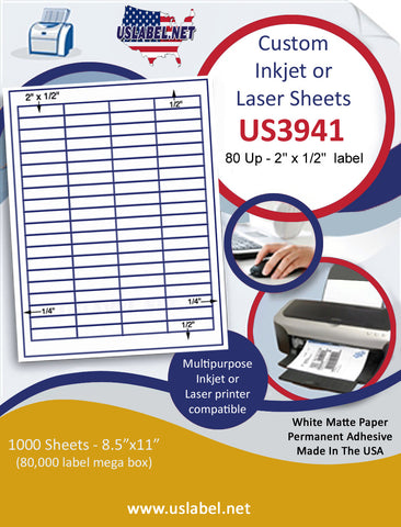 "US3941 - 2'' x 1/2'' - 80 up label on a 8 1/2"" x 11"" inkjet or laser sheet."