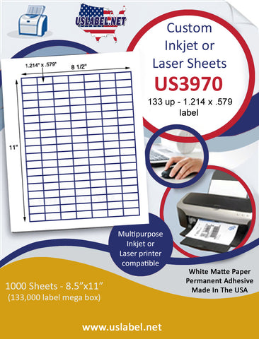 "US3970 - 133 up - 1.214'' x .579'' label on a 8 1/2"" x 11"" inkjet and laser sheet."