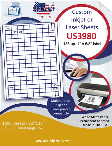 "US3980 - 136 up - 1'' x 5/8'' label on a 8 1/2"" x 11"" inkjet or laser sheets."
