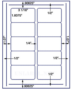"US4005-3 1/16''x1 13/16''-10 up on 8 1/2""x11"" label sheet."