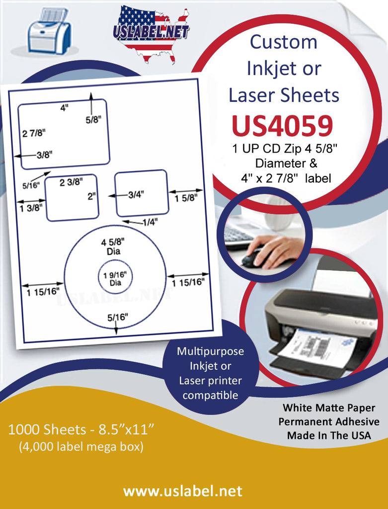 "US4059 - 1 UP CD Zip 4 5/8'' Dia & 4'' x 2 7/8'' label on a 8 1/2"" x 11"" inkjet or laser label sheet."