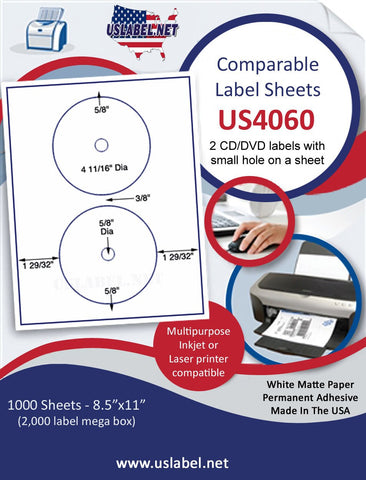 "US4060 - 4 11/16'' Small Hole CD/DVD 8962label on a 8 1/2"" x 11"" inkjet or laser label sheet."
