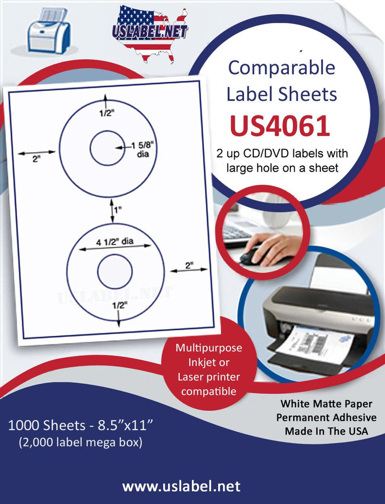 "US4061 -5824 - 4 1/2'' CD/DVD  label on a 8 1/2"" x 11"" inkjet or laser label sheet.. - uslabel.net - The Label Resource Center"