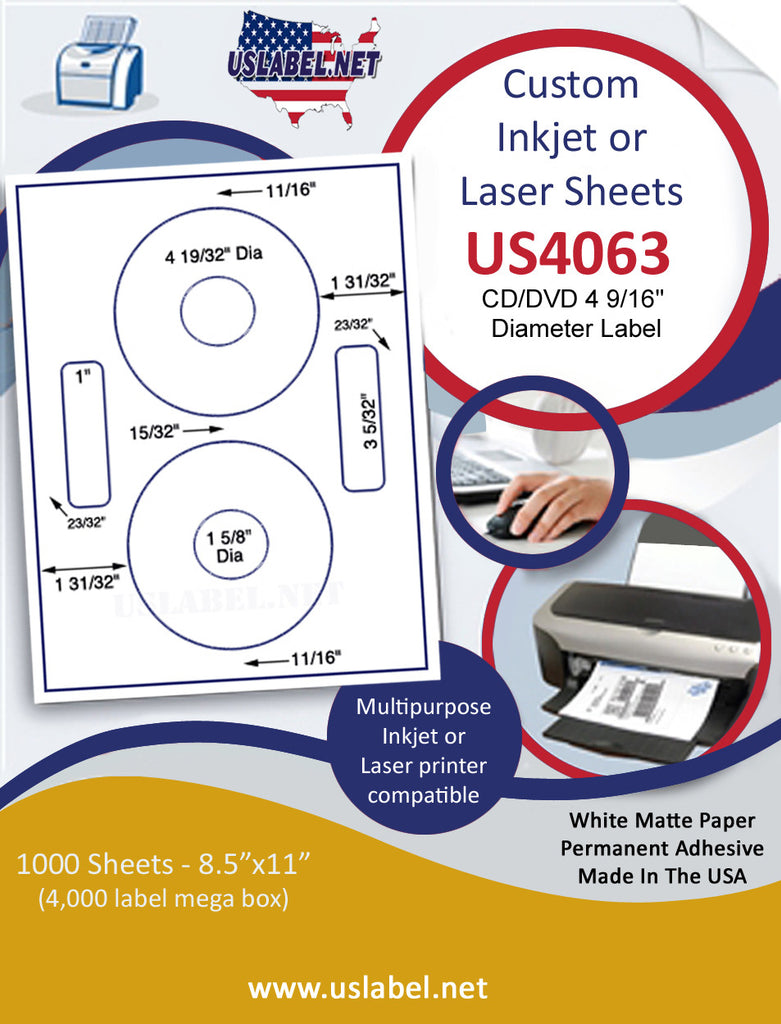 "US4063 - 2 up CD/DVD 4 9/16'' Diameter Set label on a 8 1/2"" x 11"" inkjet or laser sheet. - uslabel.net - The Label Resource Center"