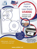 "US4066-4 5/8'' 2 up DVD on a 8 1/2"" x 11"" label sheet."