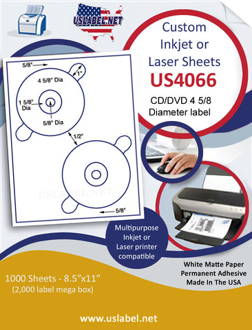 "US4066 CD/DVD 4 5/8'' 2 UP CD/DVD w/ Perf Tabs label on a 8 1/2"" x 11"" inkjet or laser sheet."