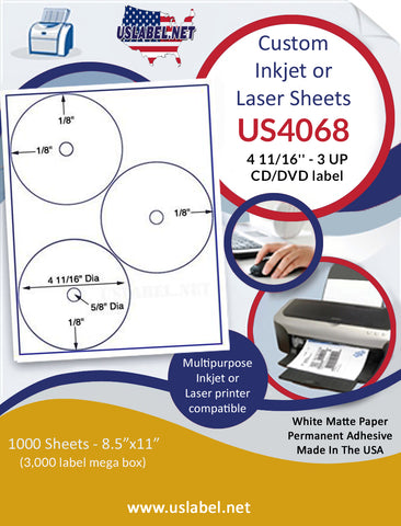 "US4068 CD/DVD 4 11/16'' 3 UP CD/DVD label on a 8 1/2""  x 11"" inkjet or laser sheet."
