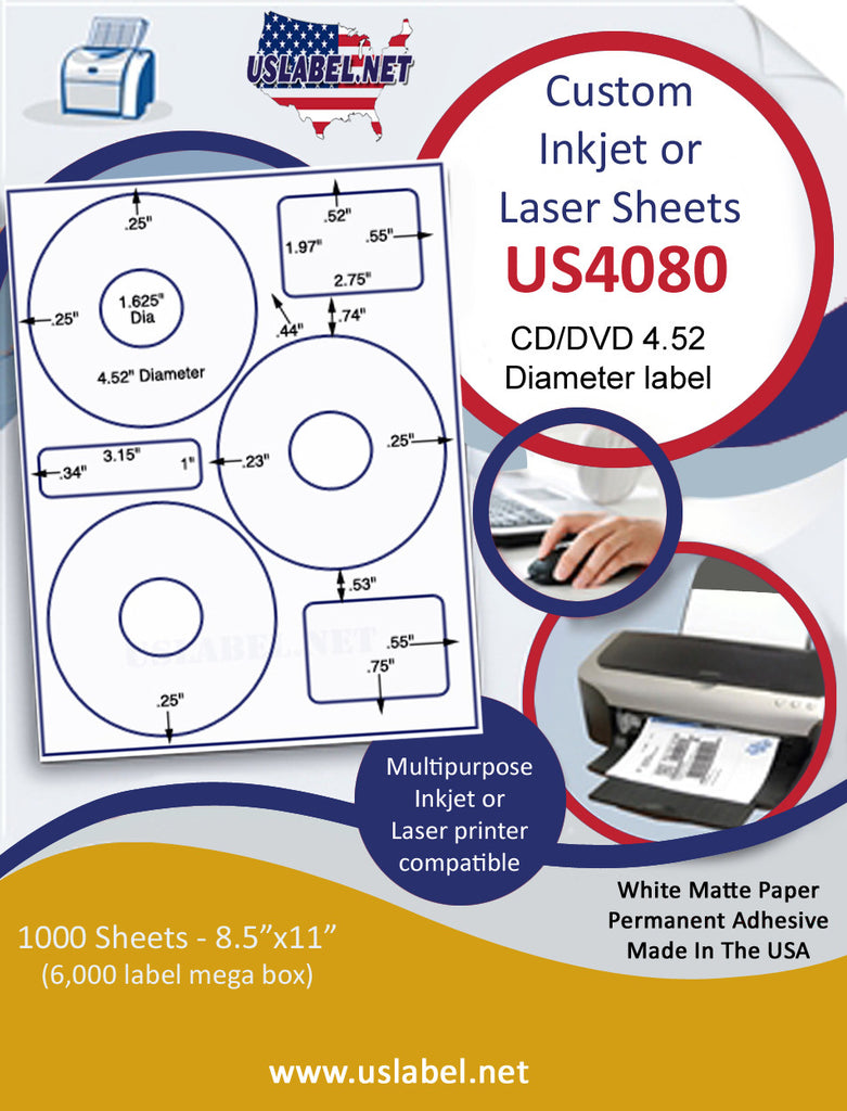 "US4080 CD/DVD 4.52'' label on a 8 1/2"" x 11""inkjet or laser sheet. - uslabel.net - The Label Resource Center"