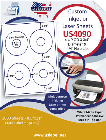 "US4090 4 UP CD 3 3/4"" Diameter & 1 1/4"" Hole label on a 8 1/2"" x 11"" inkjet or laser label sheet."