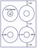 "US4090 4 UP CD 3 3/4"" Diameter & 1 1/4"" Hole label on a 8 1/2"" x 11"" inkjet or laser label sheet. - uslabel.net - The Label Resource Center"