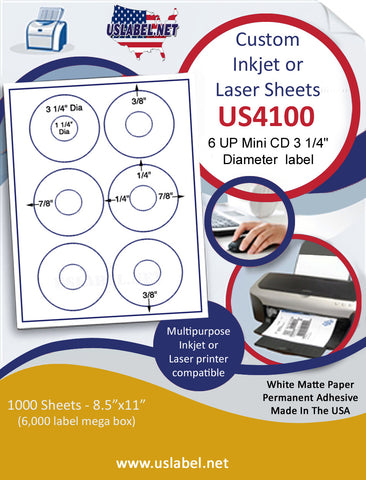 "US4100 - 6 UP Mini CD 3 1/4"" Diameterlabel on a 8 1/2"" x 11"" inkjet or laser label sheet."
