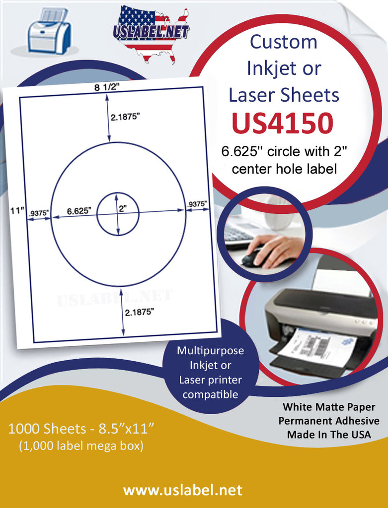 "US4150 - 6.625'' circle with 2"" center hole label on a 8 1/2"" x 11"" inkjet or laser label sheet."