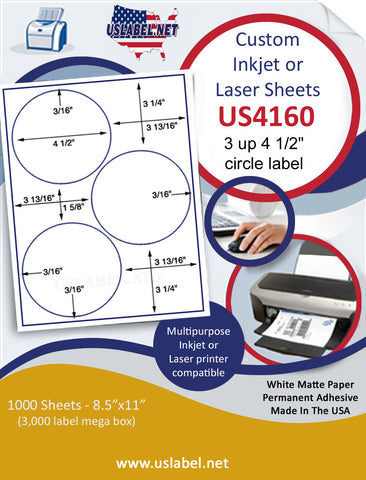 "US4160- 4 1/2'' - 3 up circle label on a 8 1/2"" x 11"" inkjet or laser label sheet."