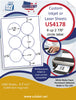 "US4178-2 7/8'' Circle 6 up on a 8 1/2"" x 11"" label sheet."