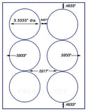 "US4180-3.333"" Avery 5295 circle -8 1/2""x11"" label sheet."