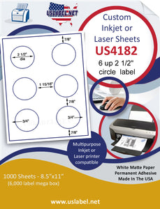 "US4182-2 1/2''circle 6 up on a 8 1/2"" x 11"" label sheet."