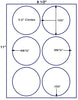 "US4183 - 3.5'' circle 6 up label on a 8 1/2"" x 11"" inkjet or laser label sheet."