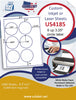 "US4185 - 3.25'' circle 6 up label on a 8 1/2"" x 11"" inkjet or laser label sheet."