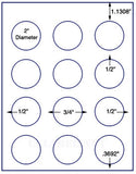 "US4198-2''circle 12 up on a 8 1/2"" x 11"" label sheet."