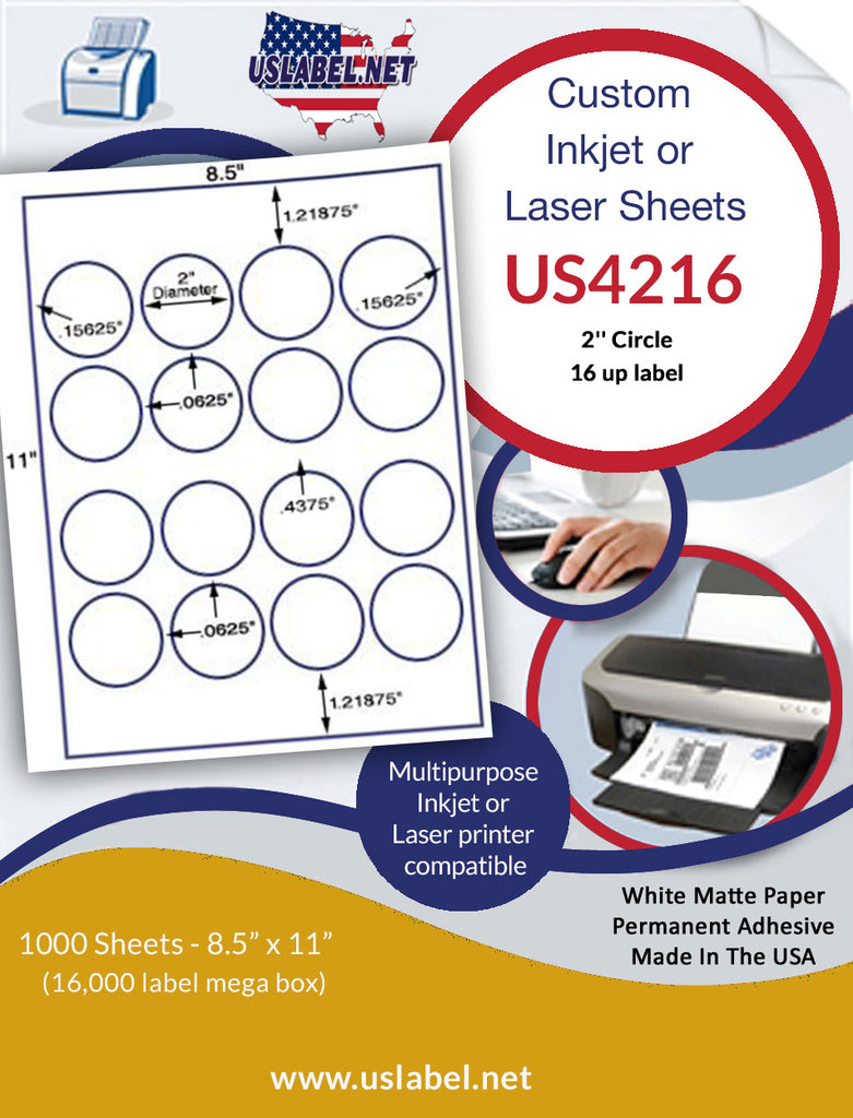 "US4216 - 2''Circle 16 up label on a 8.5"" x 11"" laser sheet."