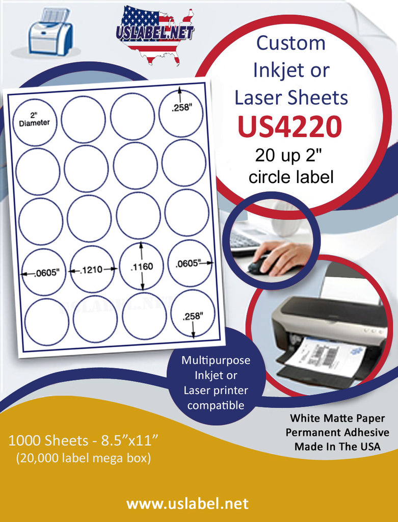 "US4220 - 2'' Circle 20 up label on a 8 1/2"" x 11"" inkjet or laser sheet. - uslabel.net - The Label Resource Center"