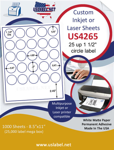 "US4265 - 1 1/2''circle 25 up label on a 8 1/2"" x 11"" inkjet or laser sheet."