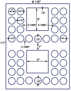 "US4285-1'' Circle 38 up on a 8 1/2"" x 11"" label sheet."