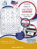 "US4290 - 1'' and 1 1/2'' Circle 44 up label on a 8 1/2"" x 11"" inkjet or laser sheet."
