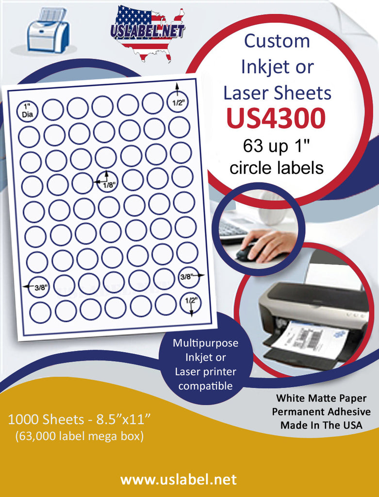 "US4300 - 1'' circle  63 up s on a 8 1/2"" x 11"" inkjet or laser sheet."